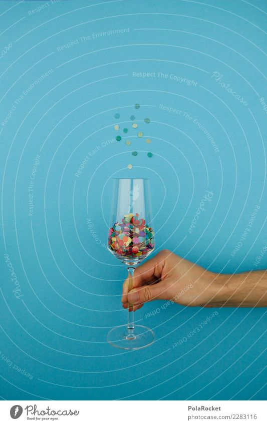 #AS# Stufflet Art Esthetic Graph Creativity Glass Champagne glass Blue New Year's Eve To hold on Alcoholic drinks Alcohol-fueled Confetti Carbonic acid Jubilee