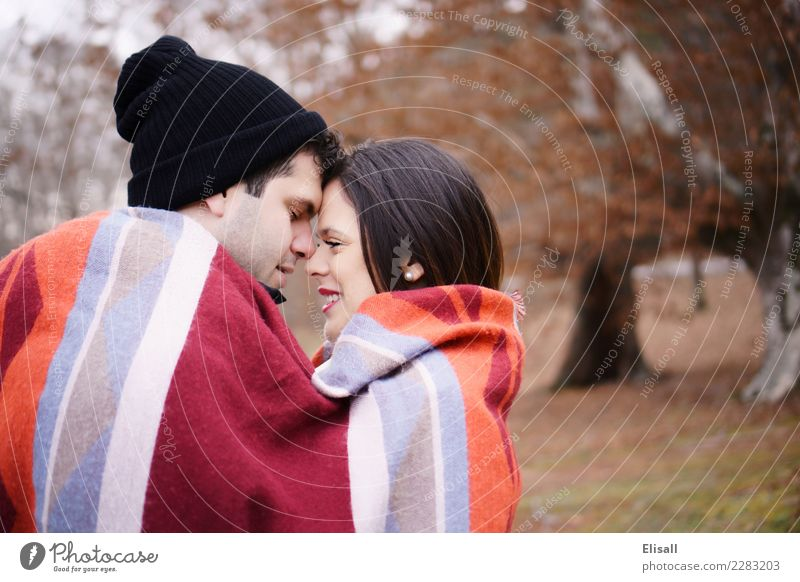 Cute couple wrapped up in blanket Human being Nature Vacation & Travel Youth (Young adults) Young woman Young man Red Winter 18 - 30 years Adults Autumn Healthy
