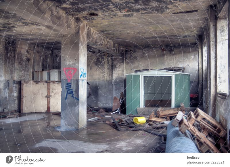 Old Dark Room Dirty Flat (apartment) Concrete Poverty Broken Lifestyle Construction site Derelict Damp Decline Column Fear of the future Chaos