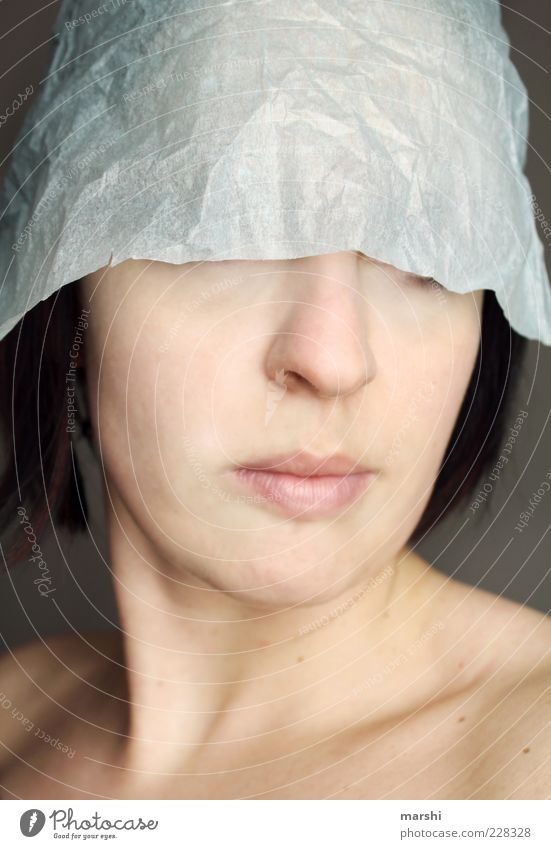 safety helmet Style Human being Feminine Woman Adults Skin Head 1 Unidentified paper hood Paper Face Colour photo Studio shot Portrait photograph Concealed