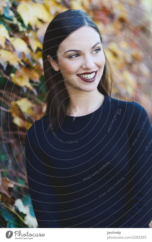 Beautiful young woman wearing black dress smiling Woman Human being Youth (Young adults) Young woman White Joy 18 - 30 years Street Adults Lifestyle Emotions