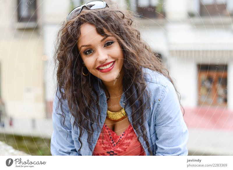 Mixed woman in urban background wearing casual clothes Woman Human being Youth (Young adults) Young woman Beautiful 18 - 30 years Face Street Adults Lifestyle