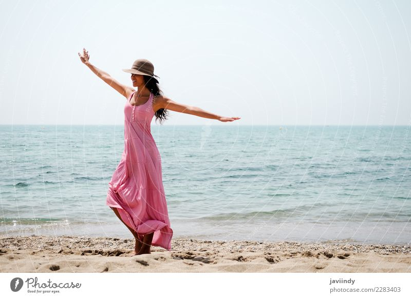 woman with long pink dress on a tropical beach Woman Human being Vacation & Travel Youth (Young adults) Young woman Blue Summer Beautiful Joy Beach