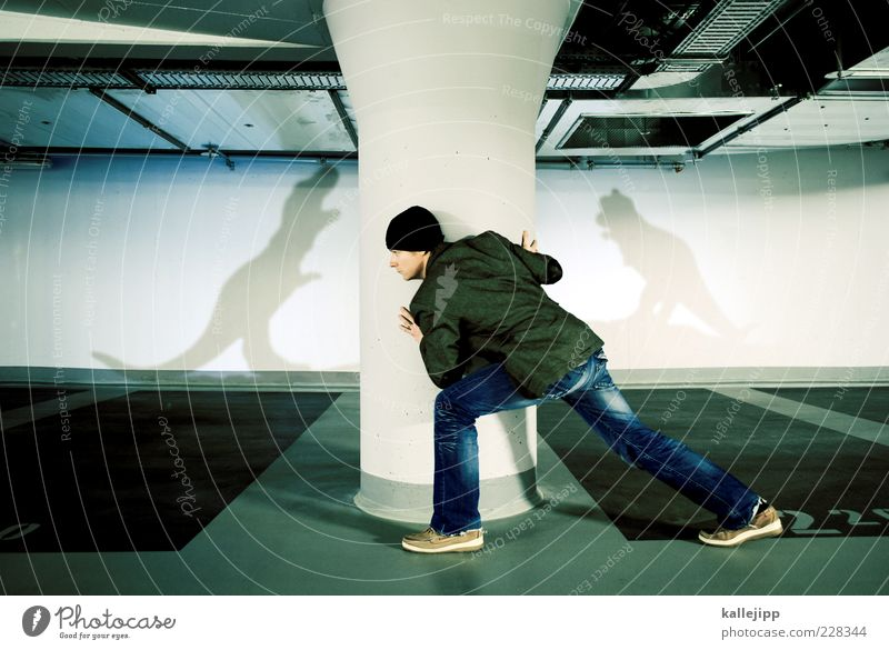 Human being Man Life Adults Footwear Fear Masculine Clothing Threat Jeans Observe Jacket Cap Hunting Whimsical Hide