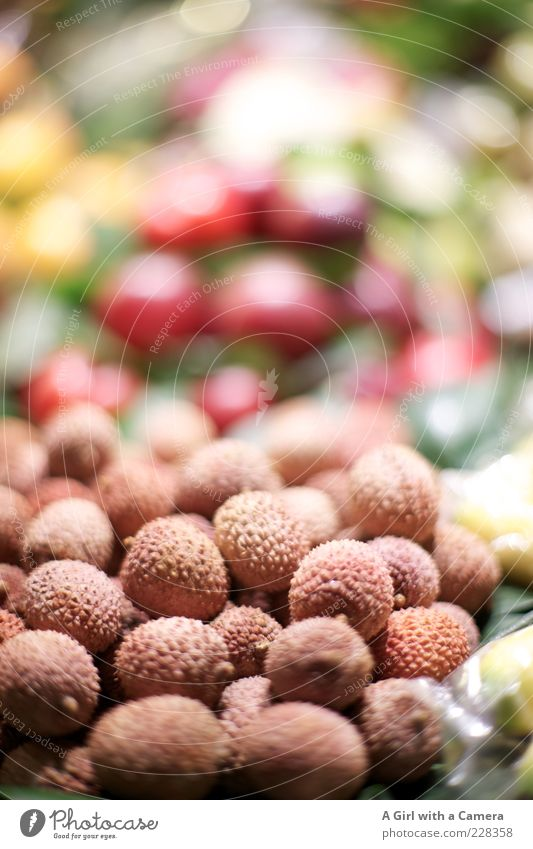 lychees Food Fruit Lychee Lie Exceptional Exotic Fresh Small Brown Multicoloured Pink Sheath Markets Market stall Vitamin Sweet Stack Offer Juicy Mature
