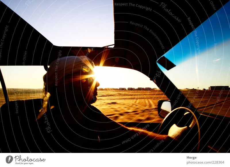 desert driver Human being Man Nature Vacation & Travel Adults Landscape Freedom Head Trip Tourism Desert 18 - 30 years