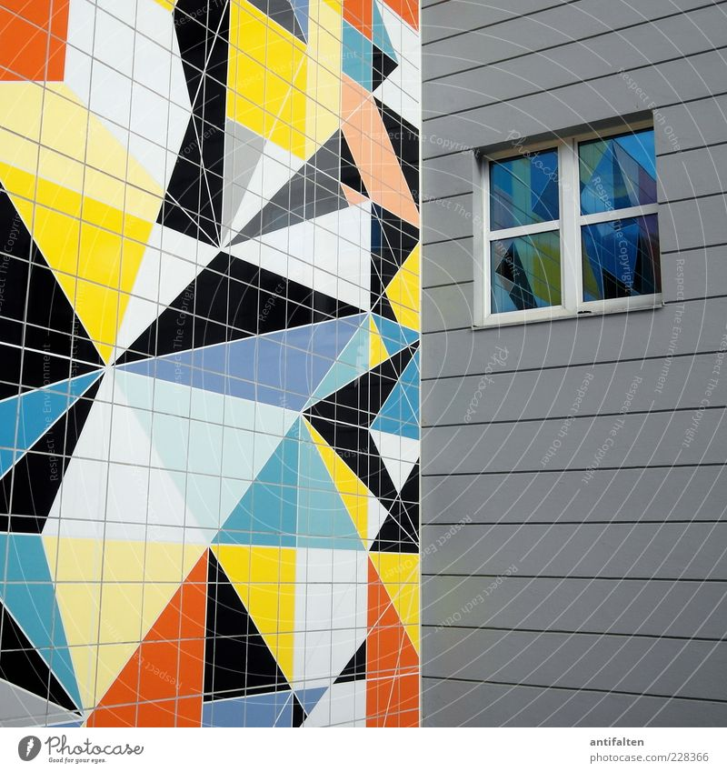 House (Residential Structure) Window Wall (building) Architecture Wall (barrier) Germany Facade Happiness Museum Tourist Attraction Duesseldorf Sharp-edged Work of art Mirror image Mosaic