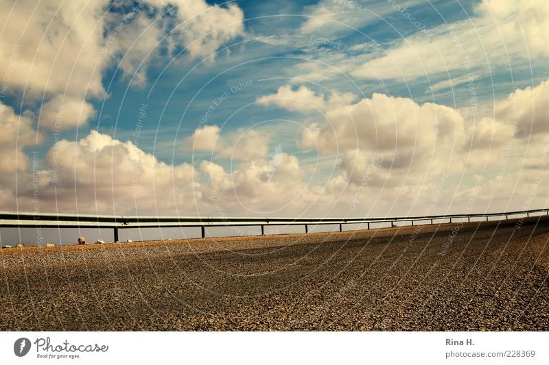 Sky Blue Clouds Street Freedom Stone Climate Perspective Safety Asphalt Border Fence Beautiful weather Curve Surrealism Weather