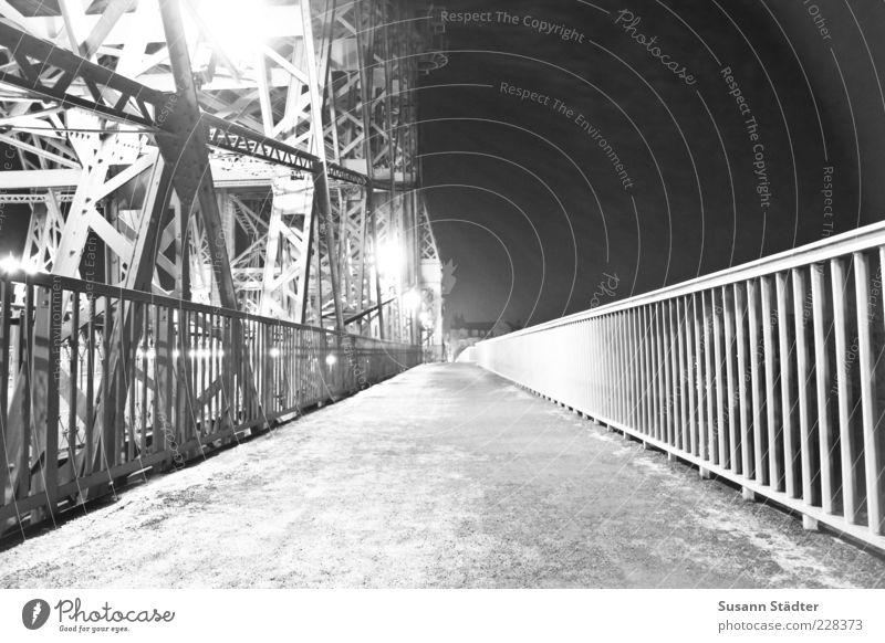 marvels Bridge Illuminate Steel carrier Handrail Dresden Lantern Steel bridge Black & white photo Exterior shot Night Artificial light Shadow Contrast