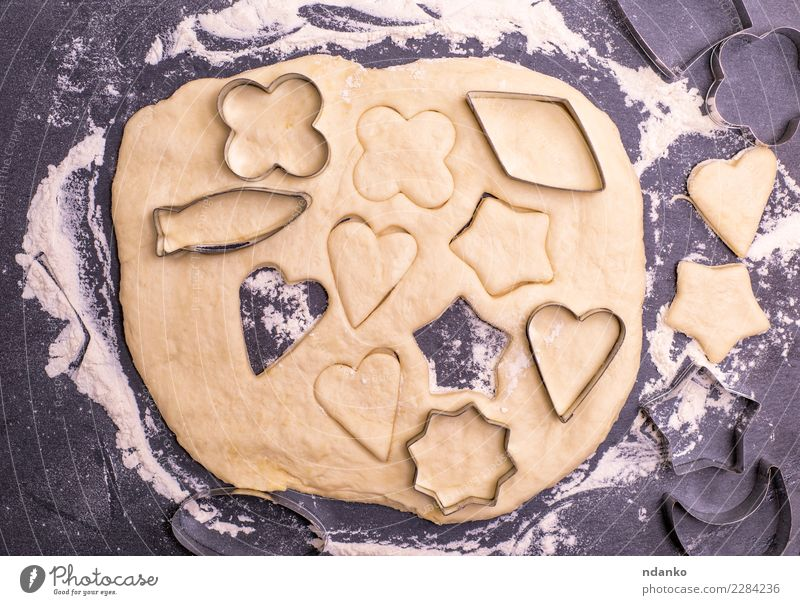 dough shape for baking cookies Christmas & Advent White Black Eating Food Above Fresh Table Heart Kitchen New Year's Eve Cooking Baked goods Top Dough Cut