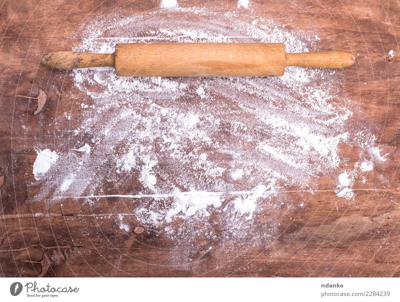scattered flour on a brown wooden table White Eating Wood Brown Retro Vantage point Table Kitchen Bread Baked goods Cooking Top Conceptual design Dough