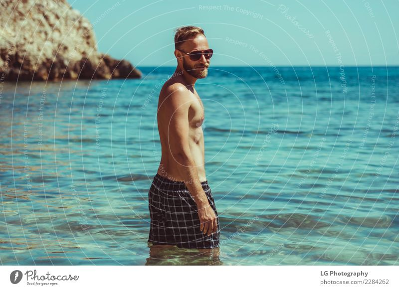 A sunny day at the beach Human being Vacation & Travel Man Colour Ocean Beach Adults Brown Vantage point Stand Smiling Happiness Clothing Photography Camera