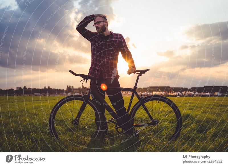 Man with bike Sky Nature Vacation & Travel Summer Landscape Relaxation Clouds Mountain Adults Lifestyle Sports Trip Transport Adventure Cycling