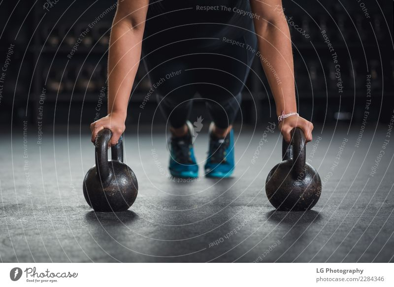 Cross fit training with kettleballs Human being Man Adults Natural Sports Building Body Power Fitness Energy Strong Concentrate Story Competition Muscular