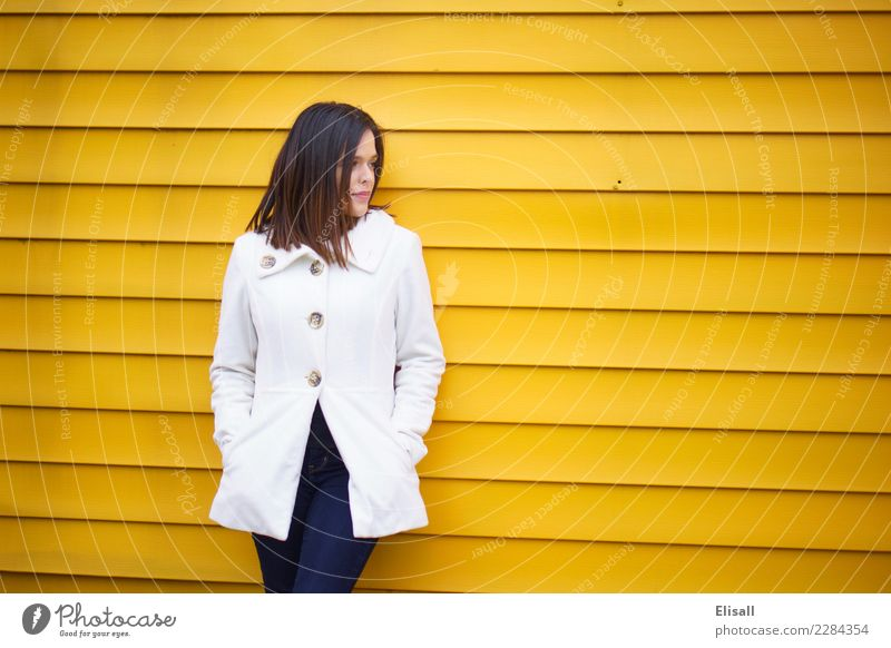 Woman on Yellow Wall Human being Adults 1 Emotions Moody Self-confident Might Brave Determination Hope Dream Lovesickness Advice Idea Identity Uniqueness Think