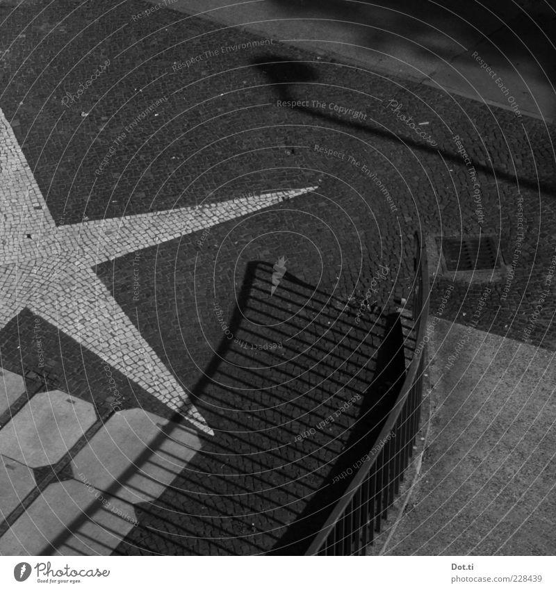 pavement star Places Lanes & trails Bridge Stone Concrete Sign Ornament Point Gray Bridge railing Star (Symbol) Paving stone Gully Black & white photo