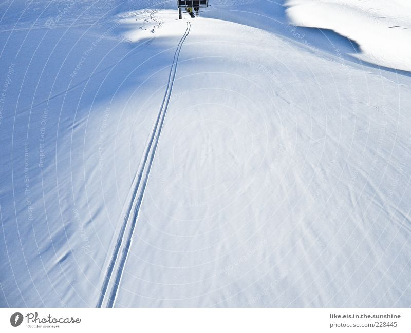 Blue Landscape Winter Mountain Snow Sports Ice Leisure and hobbies Copy Space Beautiful weather Frost Hill Skiing Switzerland Skis Anticipation