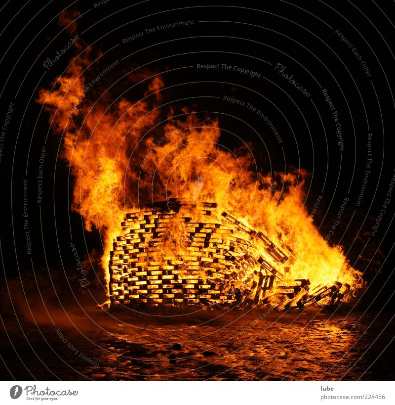bonfires Fire Warmth Hot Yellow Red Warm-heartedness Destruction Spark Burn Blaze Fire prevention Heat Colour photo Copy Space top Night Copy Space bottom Flame