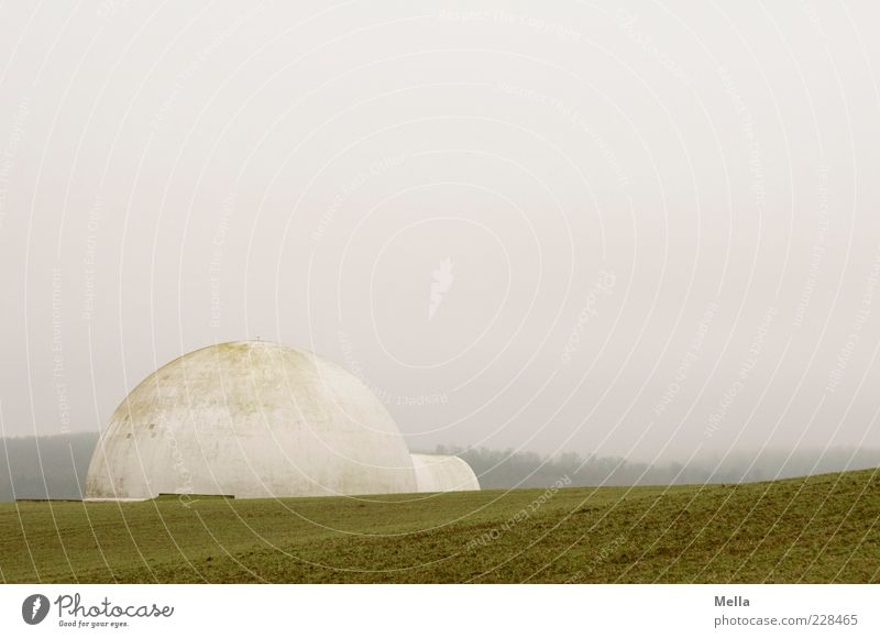 white house Environment Landscape Fog Field Building Exceptional Gloomy Gray Igloo Round Sphere Colour photo Exterior shot Deserted Copy Space top Day