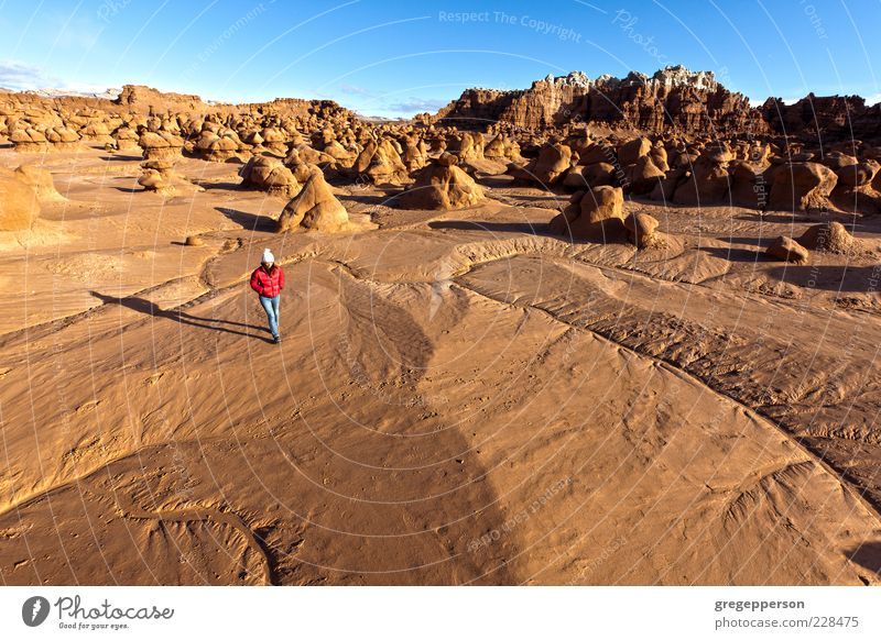 Hiker in the desert. Human being Nature Loneliness Adults Landscape Freedom Walking Hiking Adventure Climbing Desert 18 - 30 years Young woman Mountaineering Wilderness Movement