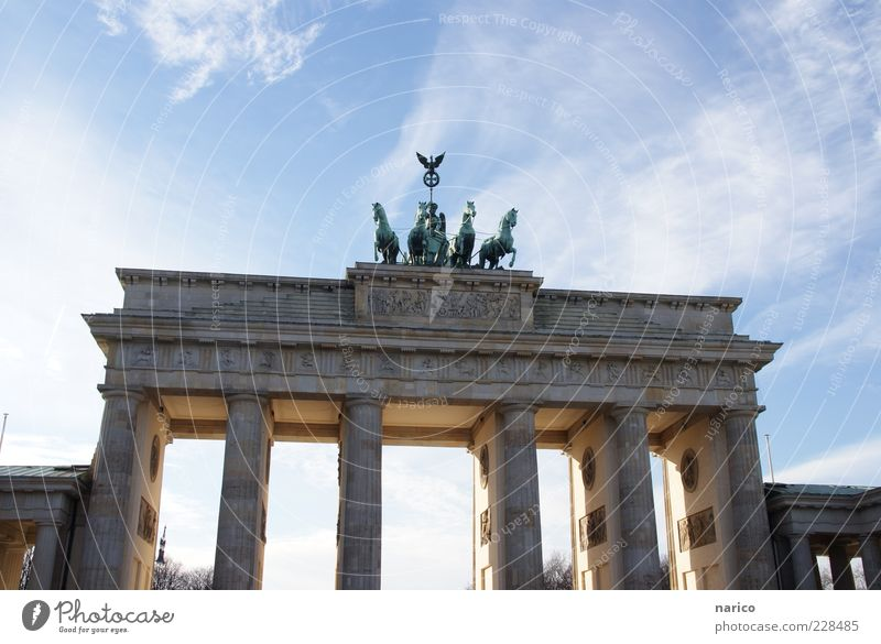 Blue Architecture Large Berlin Gate Monument Historic Landmark Downtown Capital city Tourist Attraction Door Original Famousness Quadriga