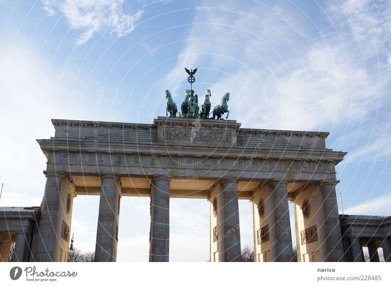 Brandenburg Gate Capital city Downtown Tourist Attraction Landmark Monument Famousness Large Historic Original Blue Colour photo Exterior shot Copy Space top