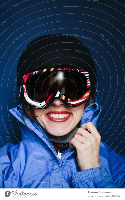 Smiling woman with ski helmet and ski goggles Lifestyle Sports Fitness Sports Training Skiing Feminine Young woman Youth (Young adults) Woman Adults 1