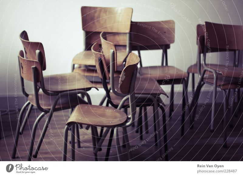 Chairs School building Student Wood Sadness Time Furniture Café Cafeteria Colour photo Subdued colour Interior shot Deserted