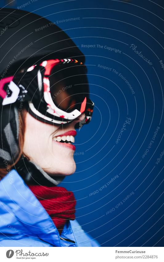 Smiling woman with ski helmet and ski goggles Lifestyle Sports Fitness Sports Training Ski run Feminine Young woman Youth (Young adults) Woman Adults 1