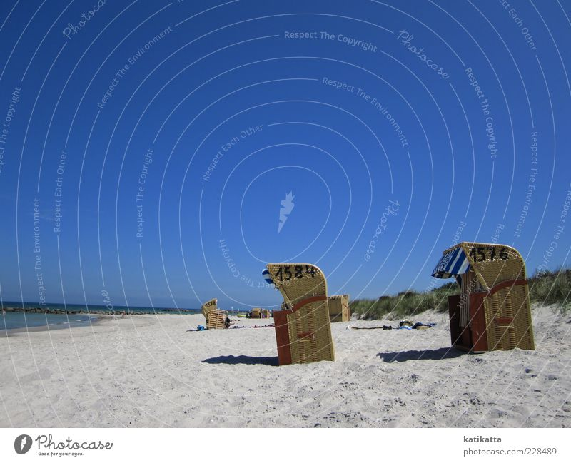 1576 - 1584 Landscape Sand Cloudless sky Summer Beautiful weather Coast Baltic Sea Ocean Dune Beach chair Relaxation Calm Longing Wanderlust Vacation & Travel