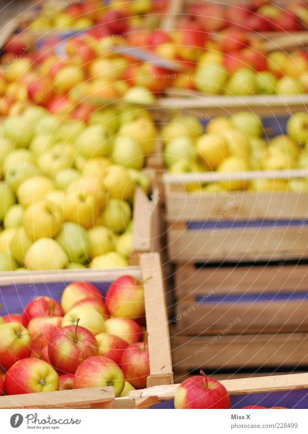 apple boxes Food Fruit Apple Nutrition Organic produce Vegetarian diet Fresh Delicious Juicy Sour Sweet Farmer's market Market stall Vegetable market Crate