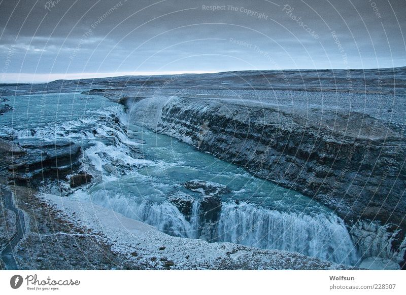 Waterfall in the morning Vacation & Travel Tourism Trip Far-off places Freedom Winter Nature Landscape Sky Clouds Horizon Bad weather Gullfoss Iceland Deserted