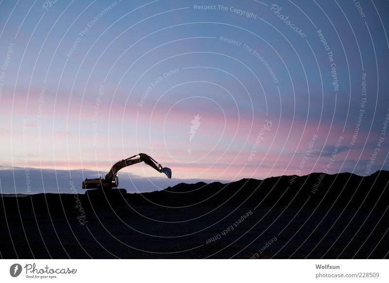 Dredging at dawn Construction site Construction machinery Excavator Sky Deserted Build Blue Pink Black Loneliness Apocalyptic sentiment dig Colour photo