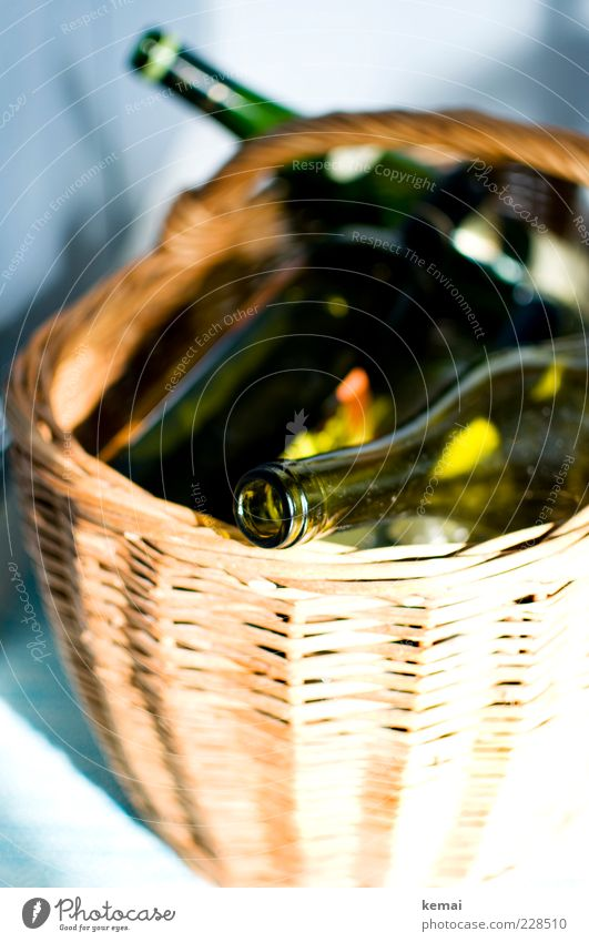 waste glass Bottle Bottle of wine Basket Wicker basket Shopping basket green glass Green Empty Trash Recycling Collection Containers and vessels