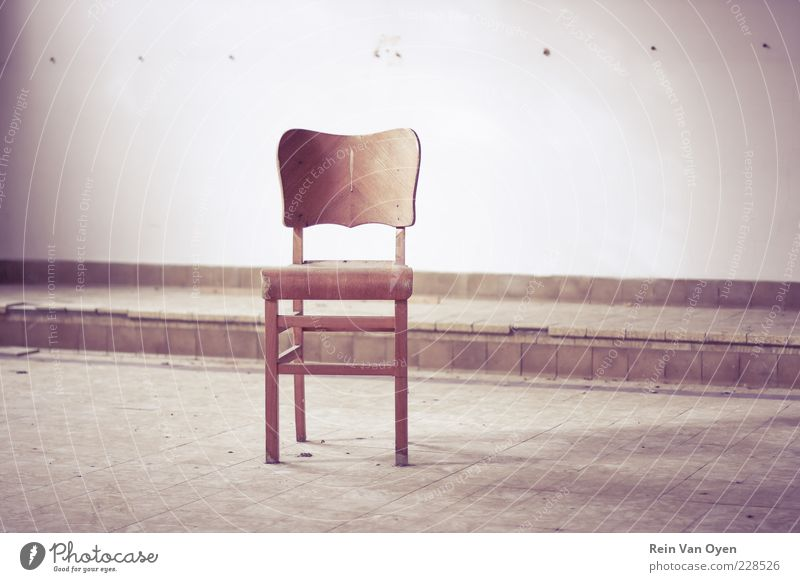 Chair Wood Brown Violet Red Loneliness Furniture Desolate Urban building Subdued colour Interior shot Deserted Copy Space middle