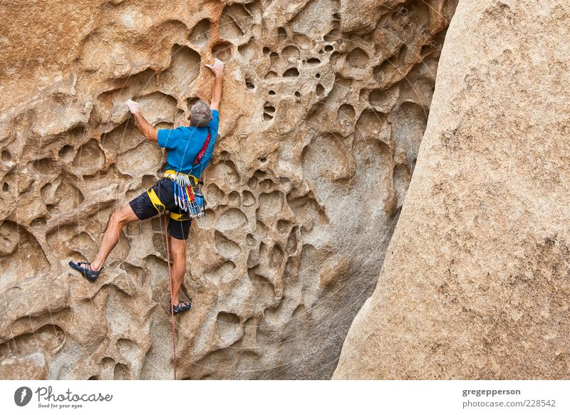 Rock climber clinging to a cliff. Human being Man Adults Sports Freedom Power Tall Adventure Rope Success Climbing Fitness Risk Brave Athletic Balance