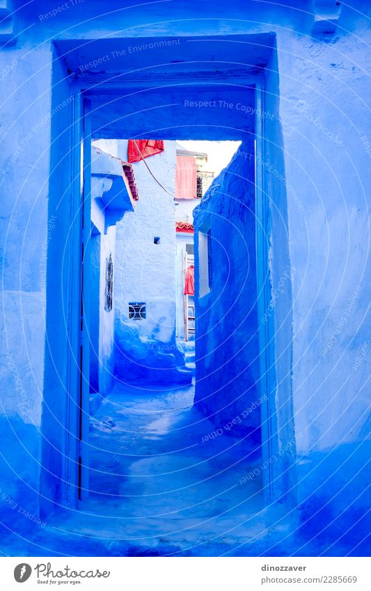Blue wall and door, Chefchaouen Vacation & Travel Tourism Mountain House (Residential Structure) Culture Village Town Building Architecture Stairs Street Old