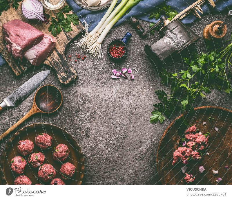 Food photograph Eating Style Design Nutrition Table Herbs and spices Kitchen Organic produce Crockery Bowl Cooking Meat Knives Lunch