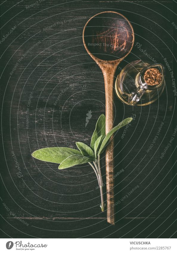 Dark Background picture Style Design Things Herbs and spices Restaurant Vintage Cooking Wooden spoon