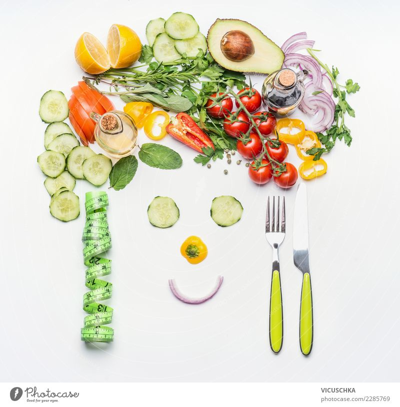 Healthy lifestyle and diet concept. Food Vegetable Lettuce Salad Nutrition Organic produce Vegetarian diet Diet Cutlery Style Design Joy Healthy Eating
