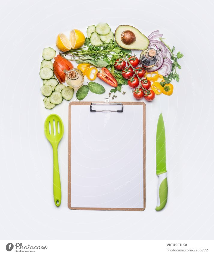 Salad vegetables with leaf for cooking recipes Food Vegetable Lettuce Knives Spoon Style Design Healthy Eating Restaurant Paper Piece of paper Nutrition