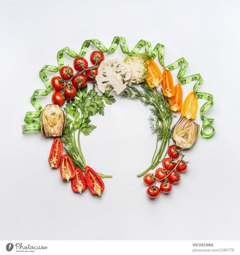 Round frames with salad vegetables and tape measure Food Vegetable Nutrition Organic produce Vegetarian diet Diet Style Design Healthy Healthy Eating Restaurant