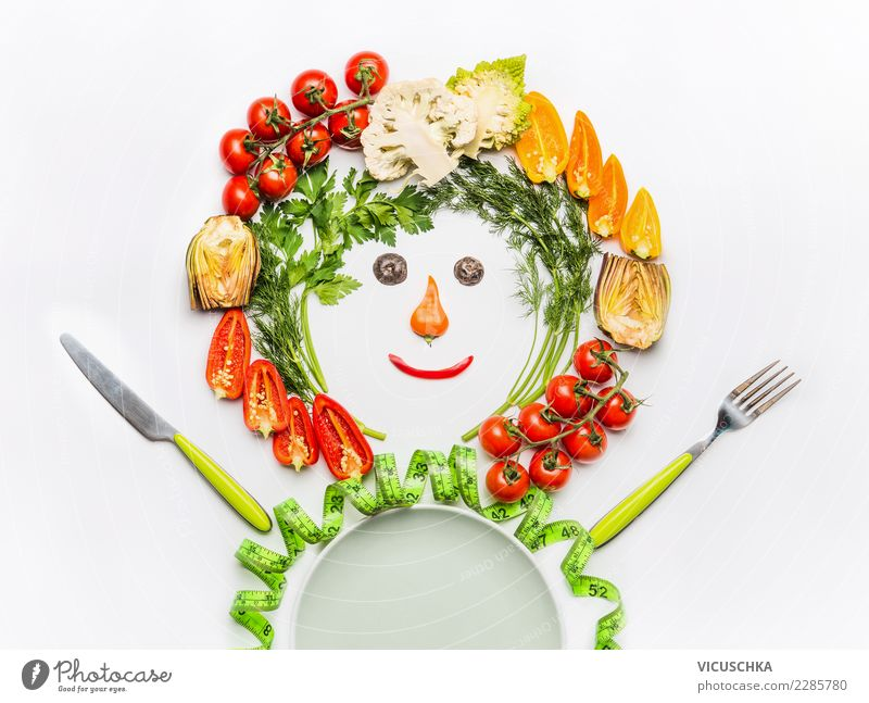 Male made with salad vegetables Food Vegetable Nutrition Lunch Organic produce Vegetarian diet Diet Plate Cutlery Style Design Joy Healthy Healthy Eating