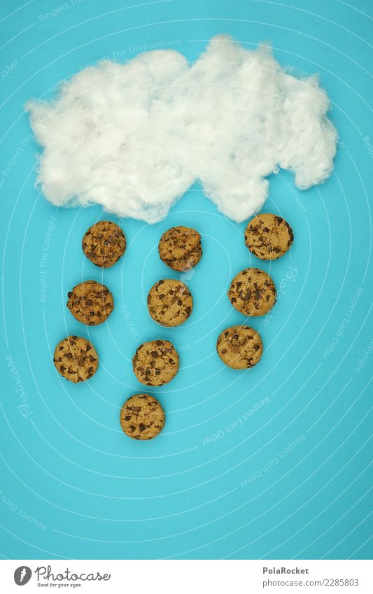#AS# Cookie Rain, Cooookie Raaain Art Esthetic cookie Comic Creativity Clouds Many Delicious Snack Snackbar Idea Exceptional Blue Sky Weather Colour photo