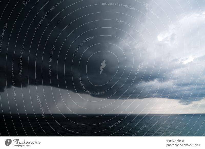 Sky Ocean Clouds Far-off places Dark Rain Weather Horizon Wind Fear Large Climate Dangerous Threat Elements North Sea