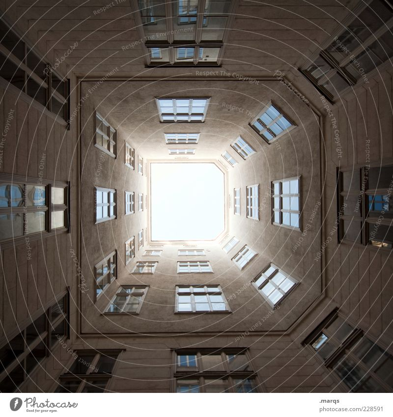 Sky Window Architecture Building Facade Tall Large Perspective Backyard Symmetry Vienna Direction Tunnel vision Skyward Real estate market