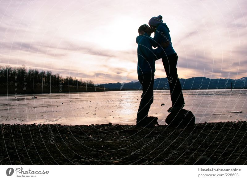 Human being Sky Youth (Young adults) Winter Adults Love Stone Lake Couple Together Ice Contentment Masculine Stand Hope Frost