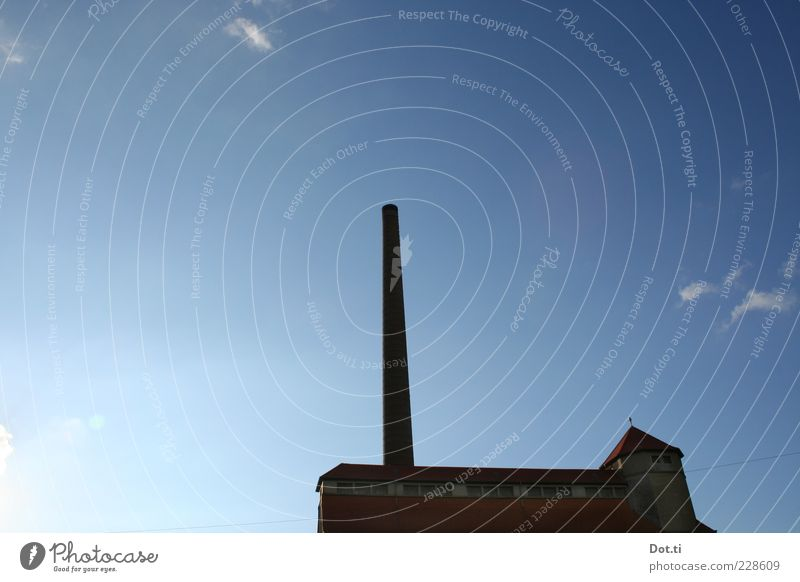 Sky Old Blue Dark Building Facade Roof Factory Beautiful weather Chimney Blue sky Industrial plant Shut down Industrialization Out of service