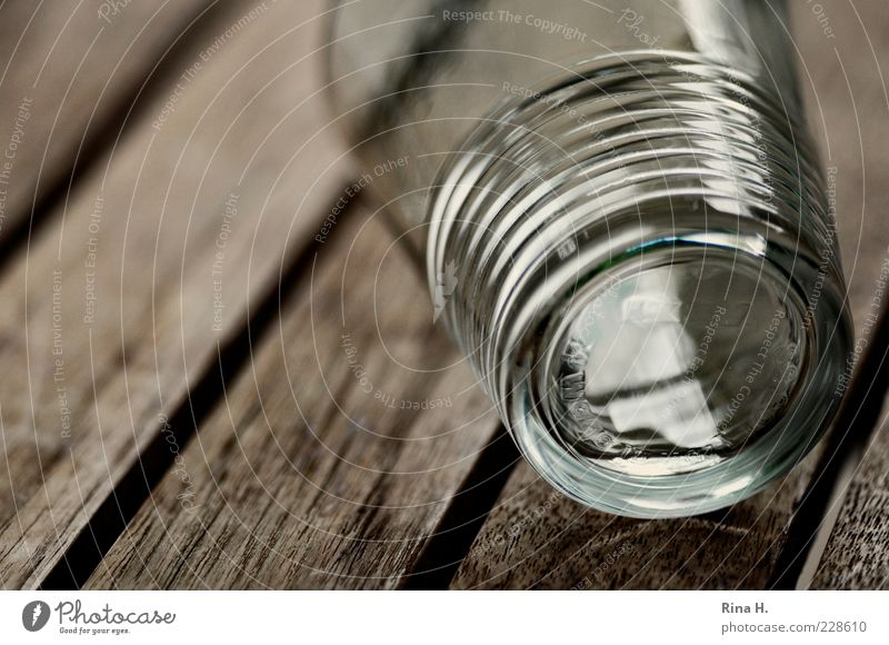 thirst Glass To fall Table Teak Empty Tumbler Tumble down Exterior shot Deserted Shallow depth of field 1