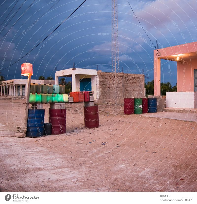 Blue Sand Building Pink Wait Energy industry Poverty Authentic Village Hut Survive Roadside Keg Life Africa Petrol station